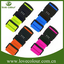 Candy color PP weaving travel accessories bunding luggage strap with password