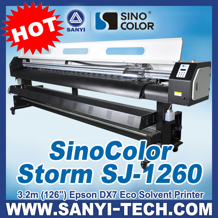 3.2m ( 10 Feet ) Factory Price 1440dpi Large Format Eco Solvent Printer Plotter Sinocolor SJ1260 With Epson DX7 Head