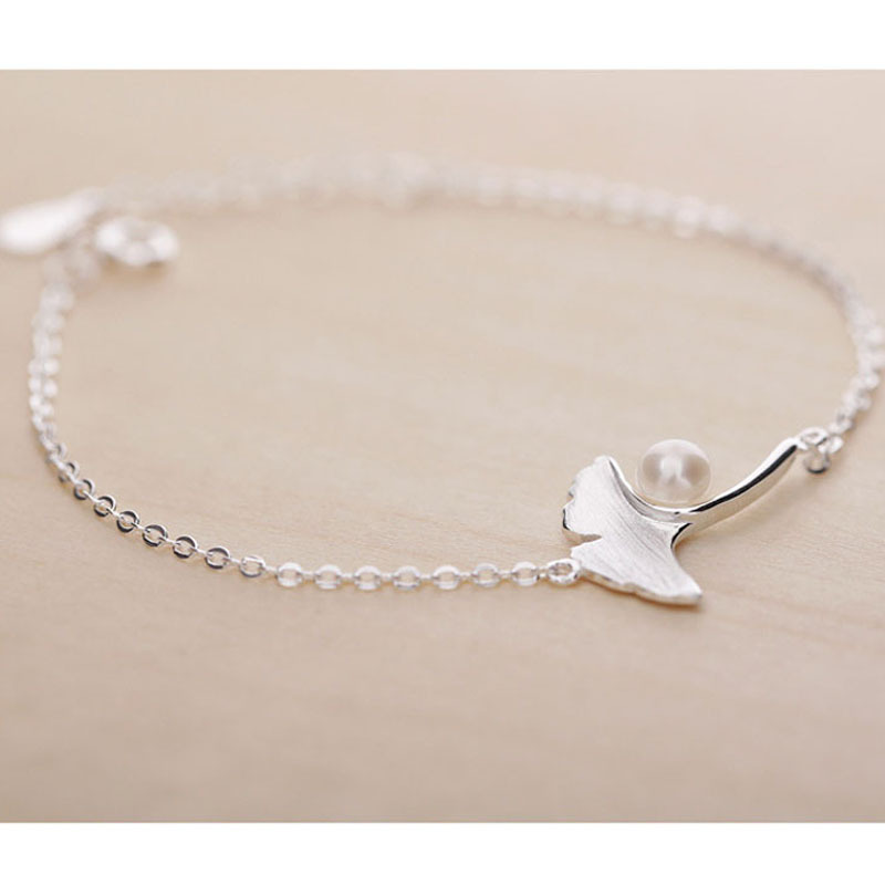 Ginkgo leaf Pearl 925 silver bracelet,powerful charm bracelet wholesale