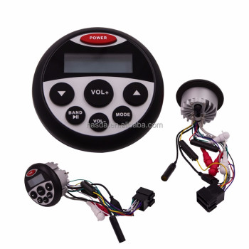 waterproof marine round fm radio car player with bluetooth for motorcycle yacht atv utv golf cart