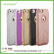 Shengo Crystal Stand PU Leather Cell Phone Cases for iPhone