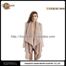 Classic Knitted Rabbit Fur Cape Coat For Women