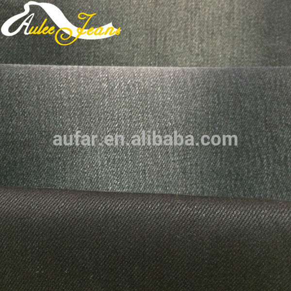Aufar cotton denim fabric 10 pure twill siro spinning spandex black brown