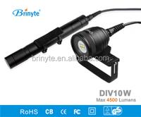 high power 4500 Lumens Brinyte DIV10W 6 LED Diving vedio flashlight