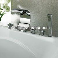 Waterfall Centerset Lavatory Bathtub Faucet with Curved Spout C Sharp decorative garden faucets