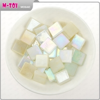 AJ49 white ice jade 15x15 mosaic tiles colored glass pieces for crafts