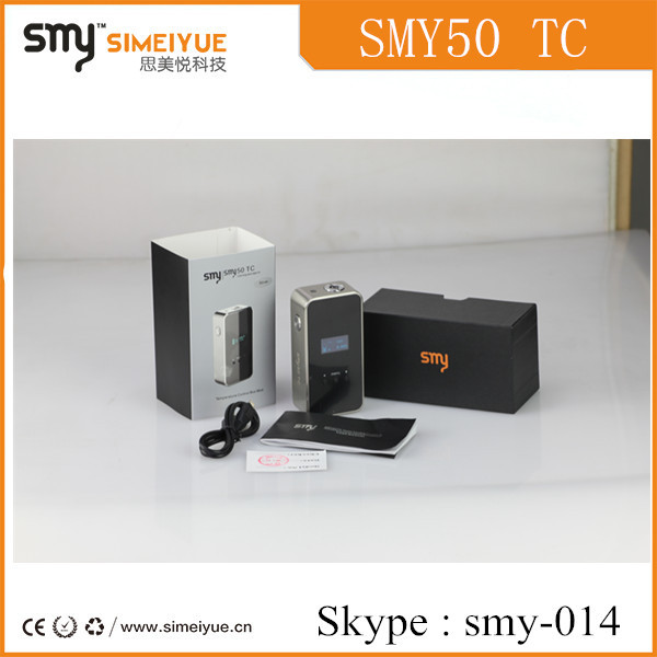 2015 new vaporizer 50w box mod smy 50 tc made in china 50w mod vape kit with temp contro 50w box mod with wholesale price