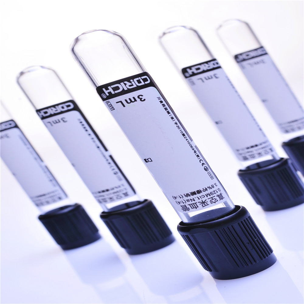Single -use Glass ESR vacuum blood collection tube with 3.2% or 3.8% sodium citrate additive