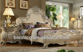 Cream Color Rose Solid Wood Carved Bedroom Furniture Set MOQ 1 Set