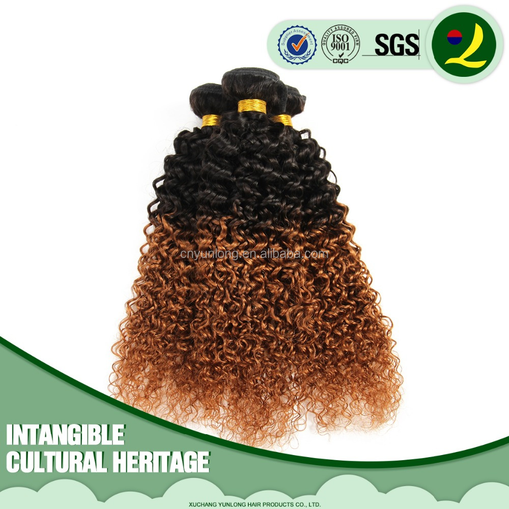 China Factory cheap virgin Brazilian human hair kinky curly ombre hair extension