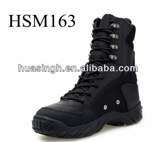 Strong Stitched Toe Hardwaring Long Cut Military Police Boots With High Quality