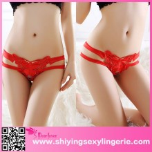 China Wholesale Red Lace Straps Butterfly Accent Thong Sex Clothes For Women