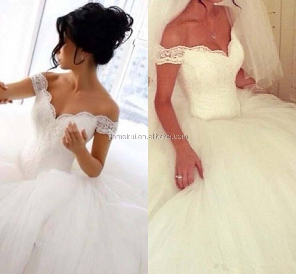 High Quality Vintage Lace Ball Gown Wedding Dresses Off Shoulder Sexy V Neck Corset Tulle Custom Made Ivory Bridal Gowns