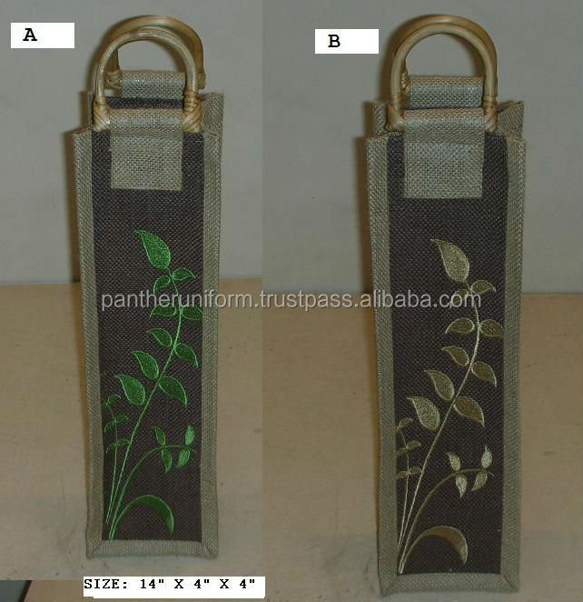 Single Bottle Jute Wine Packaging Bag with Embroidery