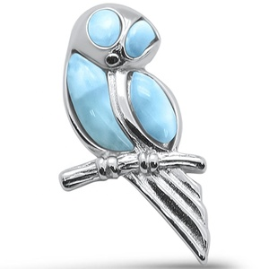 Fashion Globe Western 925 Sterling Silver Larimar Bird Pendant Jewelry