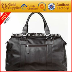 Durable waterproof duffel bag travel luggage bags made of genuine leather
