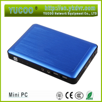 wall-mounted black case low cost mini computer htpc Pentium J2900 support USB 3.0 can install win7 or linux os