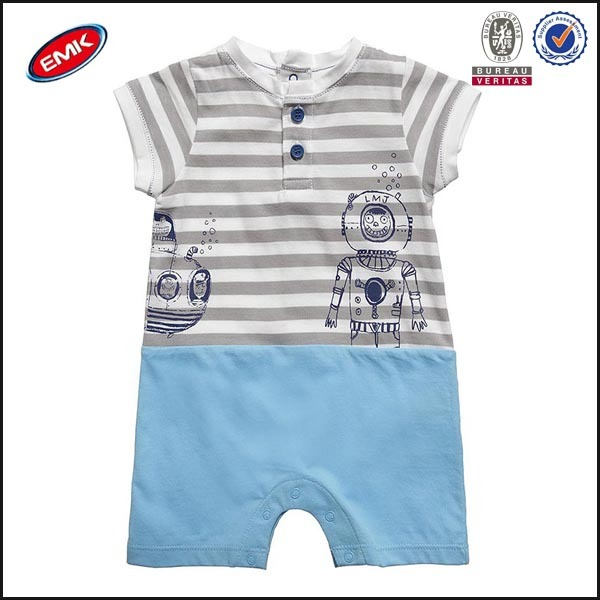 china cheap baby clothes quilted romper with striping grey and blue layered look shorties for boy