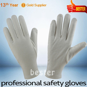 100% COTTON Top quality Factory pvc dot kids white cotton gloves