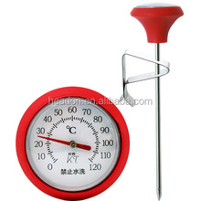 Dial round outdoor BBQ bimetal food probe meat thermometer with silicon