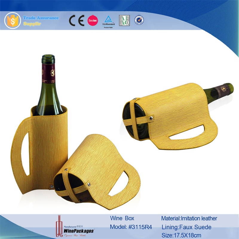 China Supplier PU/cowhide leather wine case holder wine box Promotional Gfits Tube Shape Leather Wine Holder