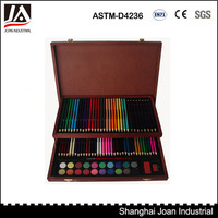 92 piece portable art set in wooden case