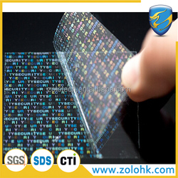 ZOLO transparent tamper proof invisible hologram anti counterfeit sticker material, printable hologram label material