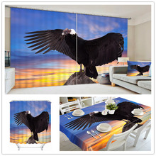 European High-grade Luxurious 3D Home Office Cafe Shop Tablecloth , Shower Curtain , Window Curtain With Eagle