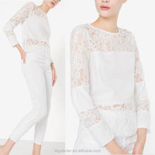 Latest fashion blouse design tailored cut lace blouse lace with a plain stripe in the centre ladies blouses and tops
