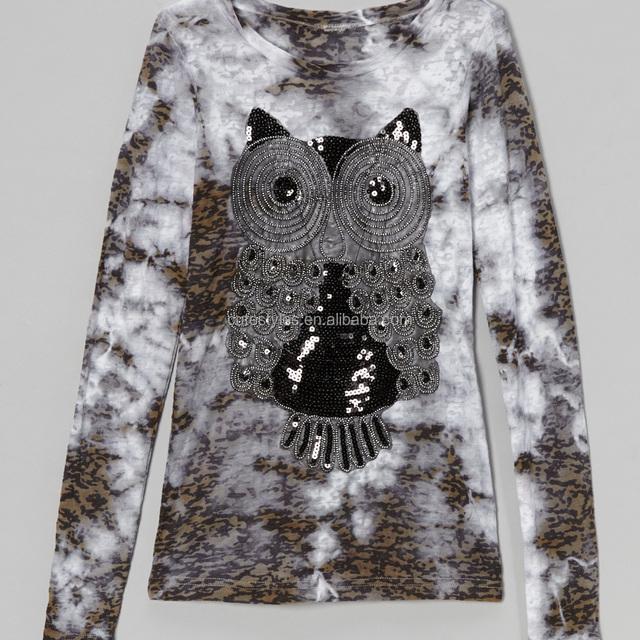 2016 Newest Design Black White Owl Burnout Tee Girls New Model Clothes Girl Fancy T-shirt Z-GT80812-9