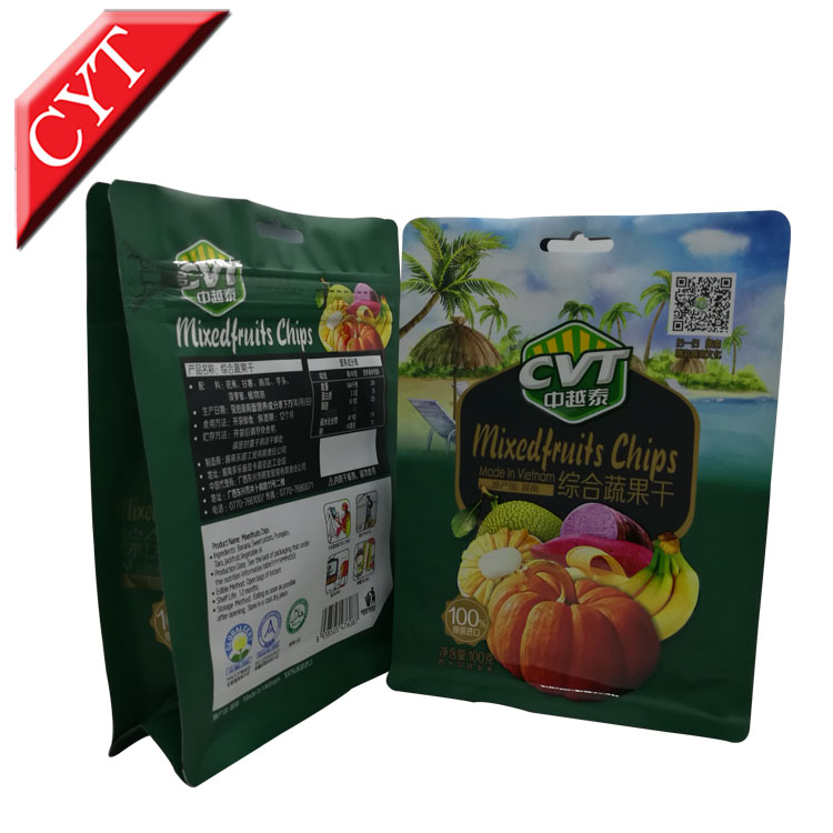 Mixed fruit food flat bottom plastic bag with customized printing