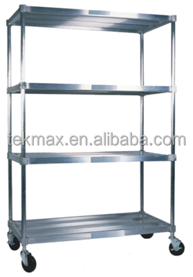 Adjustable Aluminum Shelving Rack with Wheels for Warehouse Mobile Kit