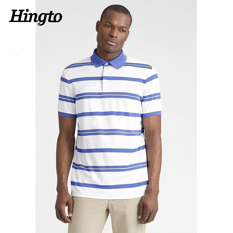 Oem service men brand white and blue two color stripe polo shirts wholesale china