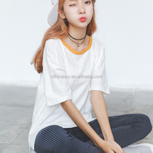 KS00518A Plain Round Candy Color Collar 100% Cotton Fabric T Shirt For Girls Korean
