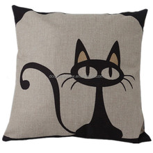 Cheap fashion decorative throw pillow cover custom cute cat design 3d digital linen handmade embroidery cushion cover