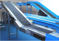 Modular Rubber Belt Conveyor driven by chain wheels transfer boxes/cartons/ with carbon /stainless steel/ Aluminum frame