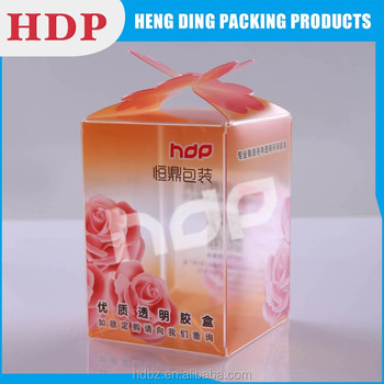 custom clear packaging pvc box with auto lock bottom