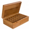 Bamboo Wooden Essential Oil Storage Chest With Handle & 2 Removable Trays
