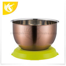 Kitchen Tools Salad Bowl For Storage Stainless Steel Mixing Bowl with PP Bottom Base