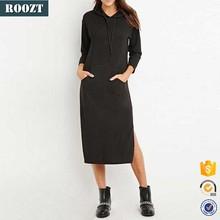 Wholesale Long Sleeve Plain Frock Design Dress Designs Black Maxi Dress