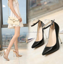 SW1295 classic shiny pointy toe sexy stiletto heel women ankle strap party shoes