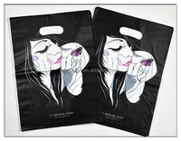 Cheap custom shopping plastic bags, black plastic bags with woman pattern
