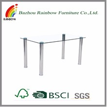 Tempered glass stainless steel legs dining room table