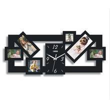 Photo Frame Wall Clock Silver Black Squares Art Mordern Luxury Design DIY Removable 3D Crystal Mirror Frame Wall Clock Wall