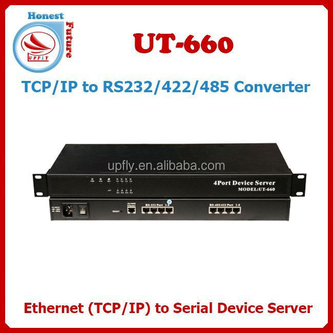TCP/IP to 4 ports RS232/RS485/RS422 Ethernet to Serial Server UT-660-080 Rs232 Rs485 Serial To Wifi Module Converter