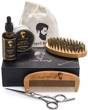 The most popular beard grooming kit beard oil beard balm scissors bristle brush wooden comb set