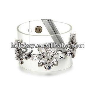 US fashion clear plastic snap bangle&bracelet,Designer crystal flower pendant bangle bracelet,plain plastic bangle bracelets