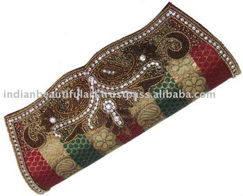 ZIRCON GOLD BEADED WEDDING WOMEN HAND PURSE CLUTCH BAG