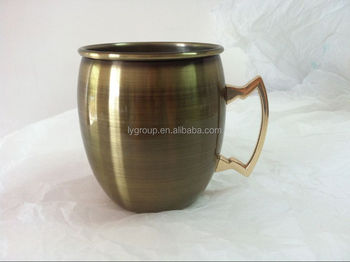 Hammered Bronze Antique Moscow Mule solid Copper Mug with brass handle/20oz antique bronze copper mug