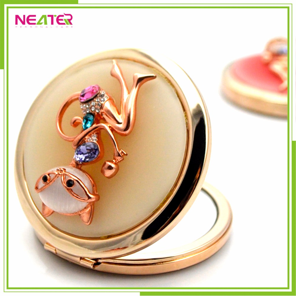 Square metal mirror gold compact mirror with custom design pocket mirror